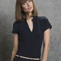Ladies' Corporate Short Sleeve V-Neck Mandarin Collar Top Thumbnail