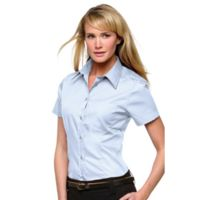 Women's corporate pocket Oxford blouse short-sleeved (tailored fit) Thumbnail