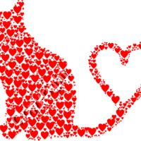 Cat Silhouette Heart Tail Hearts Thumbnail